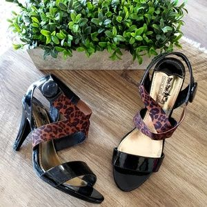 Coach and Four Black Cheetah Strappy Heels